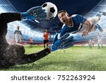 goalkeeper catches the ball in... | Shutterstock . vector #752263924