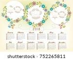 photo frame 2018 calendar design   Shutterstock .eps vector #752265811
