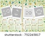 photo frame 2018 calendar design   Shutterstock .eps vector #752265817