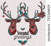 two reindeers with christmas... | Shutterstock .eps vector #752268829