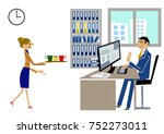 a woman carrying coffee.a man... | Shutterstock .eps vector #752273011