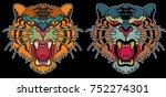 tiger face sticker vector.tiger ... | Shutterstock .eps vector #752274301