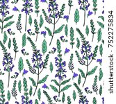 seamless floral pattern sage... | Shutterstock .eps vector #752275834