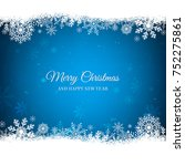 blue christmas background with... | Shutterstock .eps vector #752275861