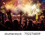 cheering crowd watching... | Shutterstock . vector #752276839