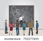 businessman drawing on the wall ... | Shutterstock .eps vector #752277655