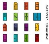 door icons set. doodle... | Shutterstock .eps vector #752281549