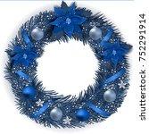 christmas wreath with fir... | Shutterstock .eps vector #752291914