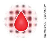 vector red human blood drop on... | Shutterstock .eps vector #752295859