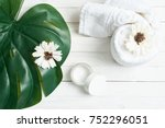 white towel  leaf of a palm...   Shutterstock . vector #752296051