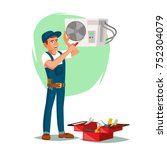air conditioner repair service... | Shutterstock .eps vector #752304079