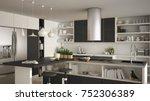 modern wooden kitchen with... | Shutterstock . vector #752306389