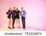 happy stylish friends having... | Shutterstock . vector #752310874