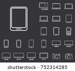 tablet icon in set on the black ... | Shutterstock .eps vector #752314285