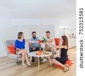 group of friends having dinner... | Shutterstock . vector #752315581