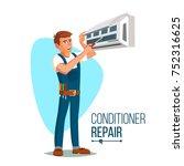 air conditioner repair service. ... | Shutterstock . vector #752316625