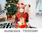 girl  costume  deer  bambi.... | Shutterstock . vector #752321065