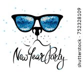 new year party  fanny dog ... | Shutterstock .eps vector #752328109