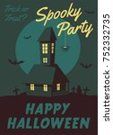 happy halloween poster. cartoon ... | Shutterstock . vector #752332735