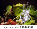 white grappa on wooden... | Shutterstock . vector #752343637