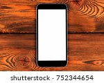 mobile phone with blank screen... | Shutterstock . vector #752344654