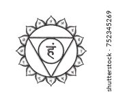 fifth vishuddha throat chakra... | Shutterstock . vector #752345269
