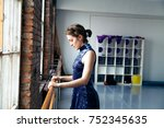 young female performer...   Shutterstock . vector #752345635