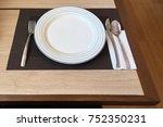 empty white plate  stainless... | Shutterstock . vector #752350231