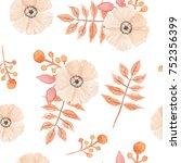 autumn fall seamless pattern... | Shutterstock . vector #752356399