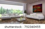 modern bright interiors. 3d... | Shutterstock . vector #752360455
