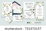 wedding invite  menu  rsvp ... | Shutterstock .eps vector #752373157