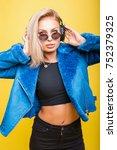 beautiful fashionable young... | Shutterstock . vector #752379325
