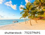 sunrise at akumal beach ... | Shutterstock . vector #752379691