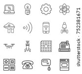 thin line icon set   notebook ... | Shutterstock .eps vector #752381671