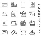 thin line icon set   card  coin ... | Shutterstock .eps vector #752385511