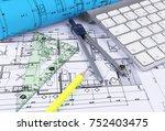 architectural blueprints... | Shutterstock . vector #752403475