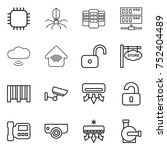 thin line icon set   chip ... | Shutterstock .eps vector #752404489