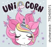 cute unicorn girl cartoon with... | Shutterstock .eps vector #752405071