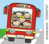 happy kids at red bus  funny... | Shutterstock .eps vector #752405767