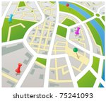 editable vector street map of a ... | Shutterstock .eps vector #75241093