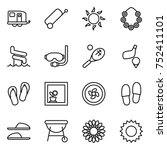 thin line icon set   trailer ... | Shutterstock .eps vector #752411101