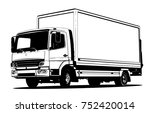 vector truck outline template... | Shutterstock .eps vector #752420014