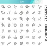 simple set of meat related... | Shutterstock .eps vector #752423824
