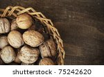 walnuts in the basket - stock photo