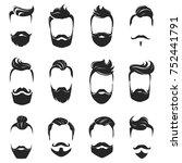 hipster fashionable beard... | Shutterstock . vector #752441791