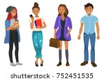 set of guys and girls | Shutterstock .eps vector #752451535