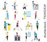 cleaning people flat colored... | Shutterstock . vector #752452519