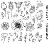 collection of hand drawn flower ... | Shutterstock .eps vector #752456581