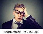 desperate shocked defeated... | Shutterstock . vector #752458201