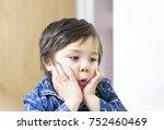 portrait adorable little boy... | Shutterstock . vector #752460469